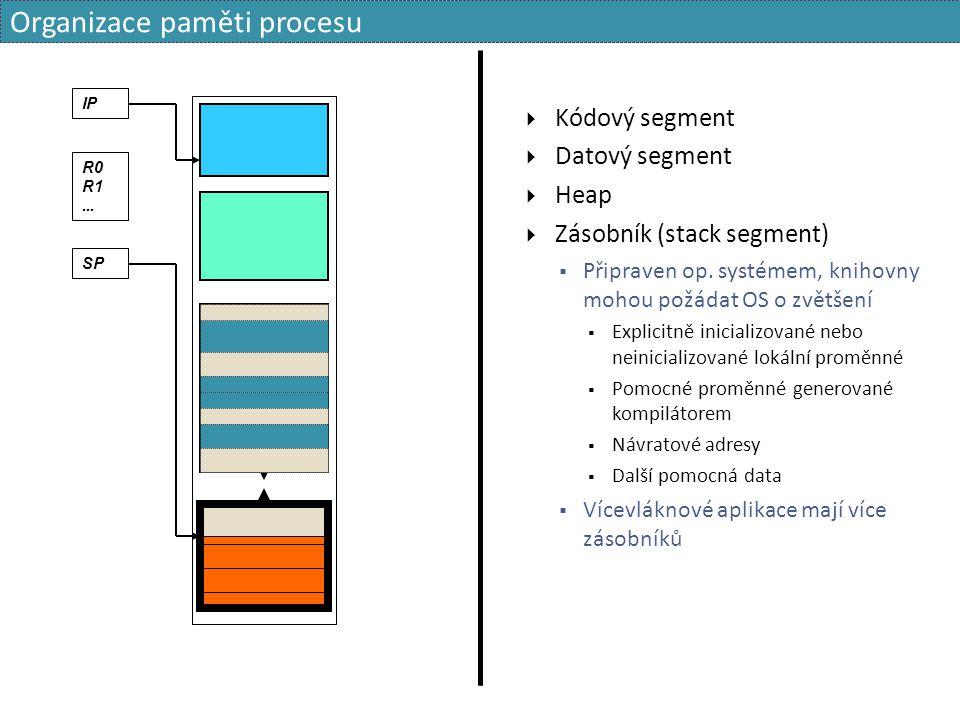  Kódový segment  Datový segment  Heap  Zásobník (stack segment)  Připraven op. systémem, knihovny mohou požádat OS o zvětšení  Explicitně inicia