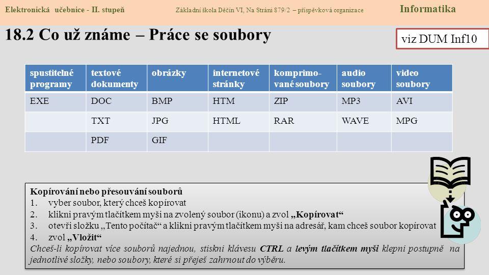 18.2 Co už známe – Práce se soubory Elektronická učebnice - II.