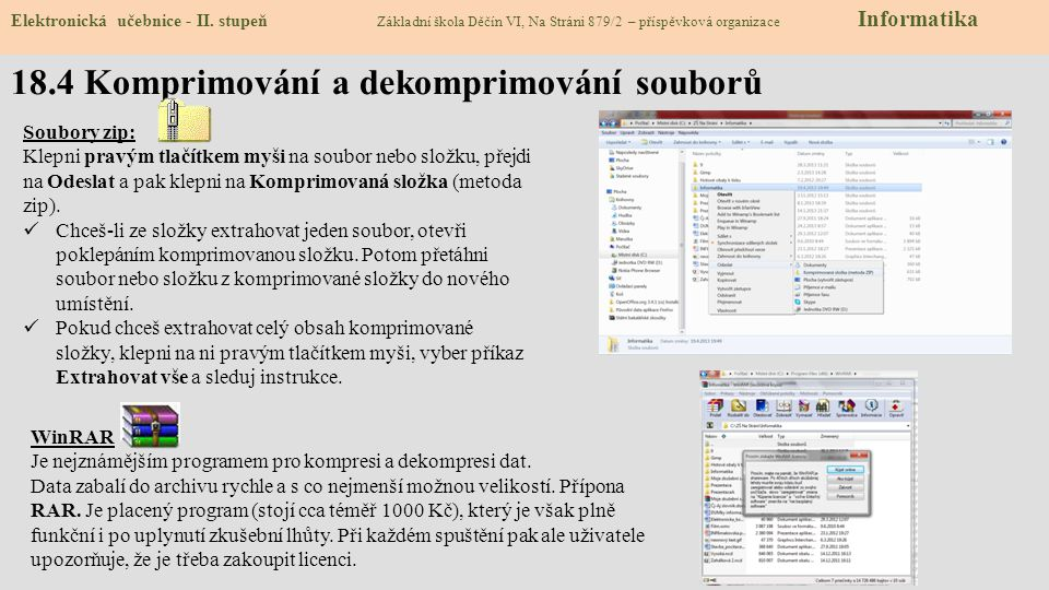 18.4 Komprimování a dekomprimování souborů Elektronická učebnice - II.