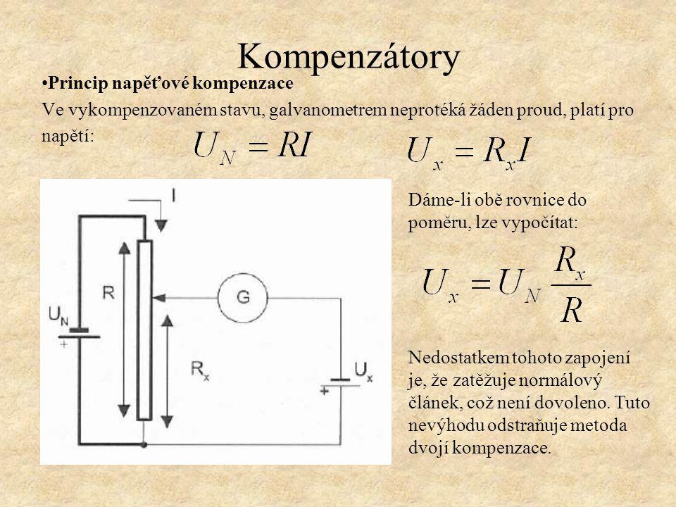 Princip napěťové kompenzace Ve vykompenzovaném stavu, galvanometrem neprotéká žáden proud, platí pro napětí: Dáme-li obě rovnice do poměru, lze vypočítat: Nedostatkem tohoto zapojení je, že zatěžuje normálový článek, což není dovoleno.