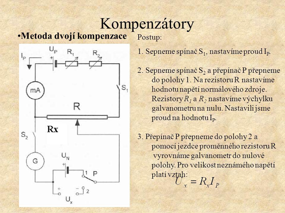 Metoda dvojí kompenzace Přesnost této metody je závislá: - musí být zajištěna konstantní hodnota pomocného proudu I P, - musí být odpor obvodu pomocného proudu i při vyrovnávání výchylky galvanometru stále stejný, toho dosáhneme použitím dvojitých dekád.