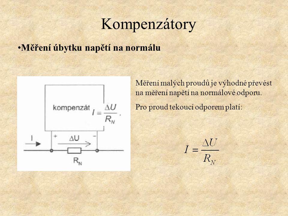 Vlastnosti kompenzační metody Výhody - vysoká přesnost, srovnatelná s můstkovými metodami, 0,05% - měřicí obvod nezatěžuje normálová zdroj proudem Nevýhody -postup měření kompenzační metodou se provádí po krocích, měření je zdlouhavé Využití - pro nejpřesnější laboratorní měření Kompenzátory