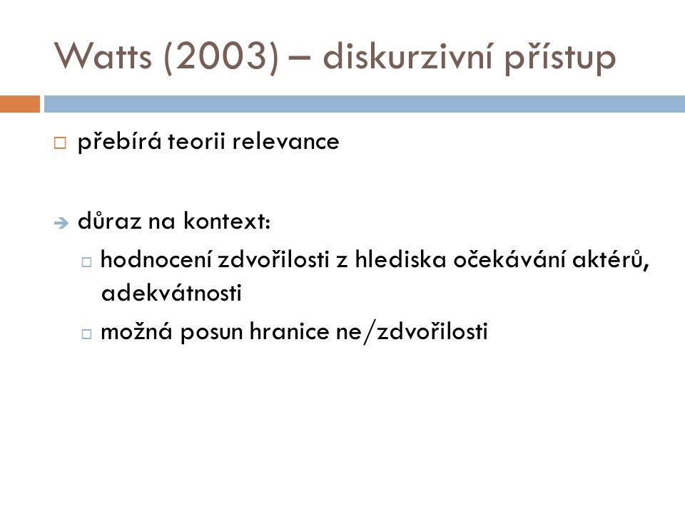 Watts (2003) – diskurzivní přístup  přebírá teorii relevance  důraz na kontext:  hodnocení zdvořilosti z hlediska očekávání aktérů, adekvátnosti 