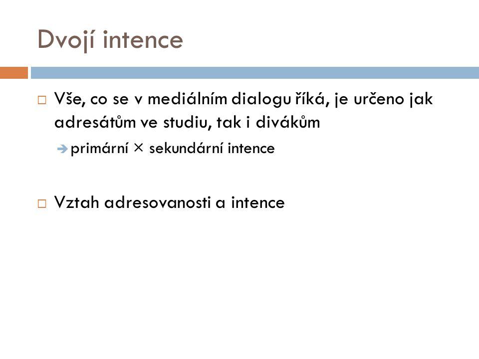 Dvojí intence  Vše, co se v mediálním dialogu říká, je určeno jak adresátům ve studiu, tak i divákům  primární × sekundární intence  Vztah adresova