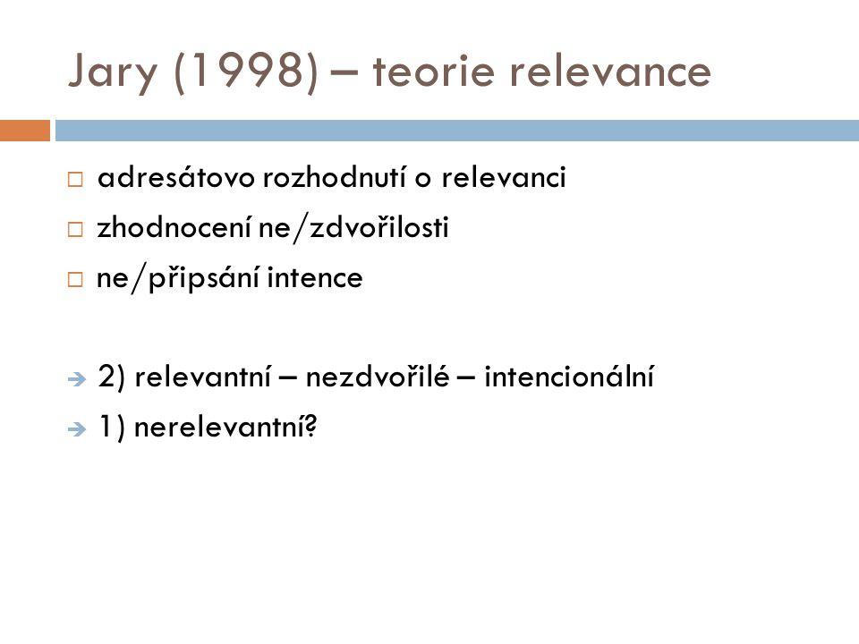 Jary (1998) – teorie relevance  adresátovo rozhodnutí o relevanci  zhodnocení ne/zdvořilosti  ne/připsání intence  2) relevantní – nezdvořilé – in