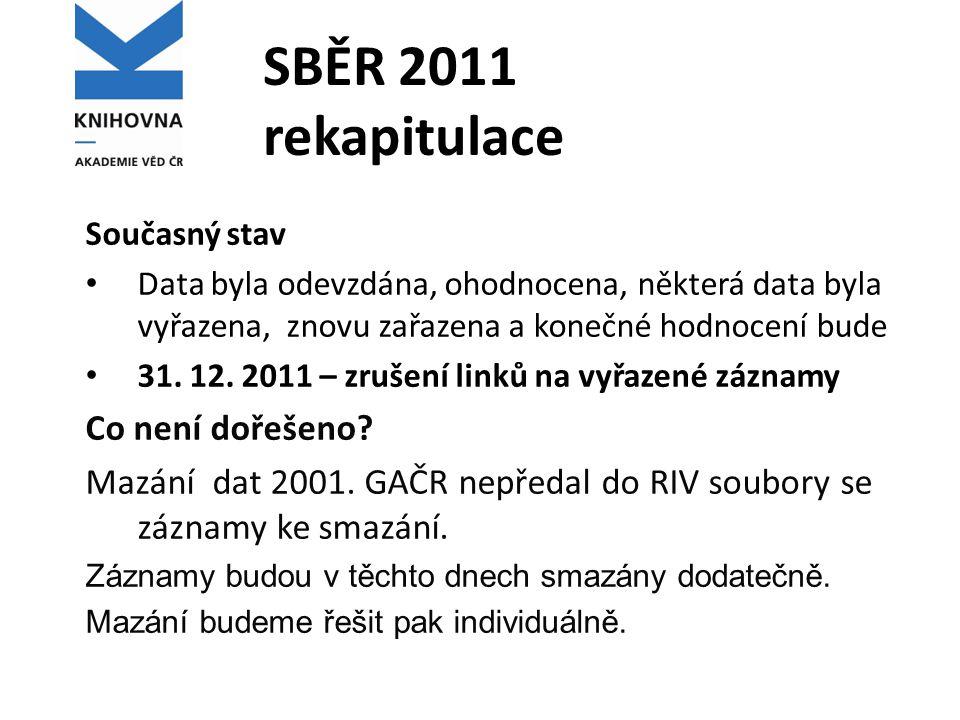SBĚR 2011 rekapitulace Současný stav Data byla odevzdána, ohodnocena, některá data byla vyřazena, znovu zařazena a konečné hodnocení bude 31. 12. 2011