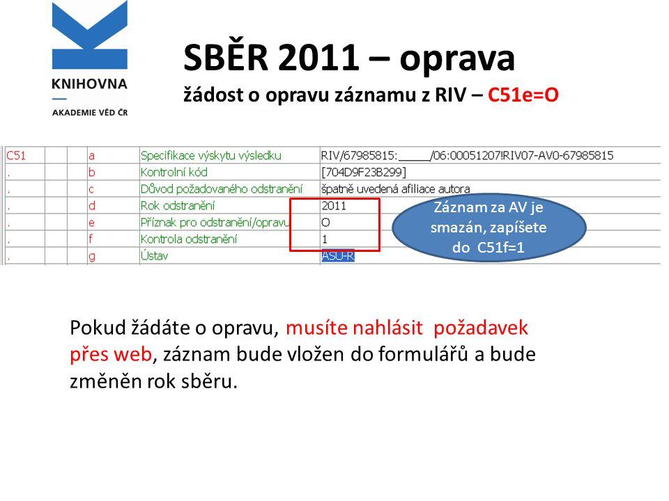 SBĚR 2012 – RIV změna struktury 1 Úprava struktury dat .