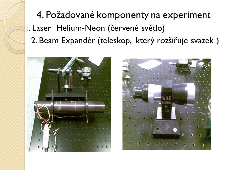 4. Požadované komponenty na experiment 1. Laser Helium-Neon (červené světlo) 2. Beam Expandér (teleskop, který rozšiřuje svazek )