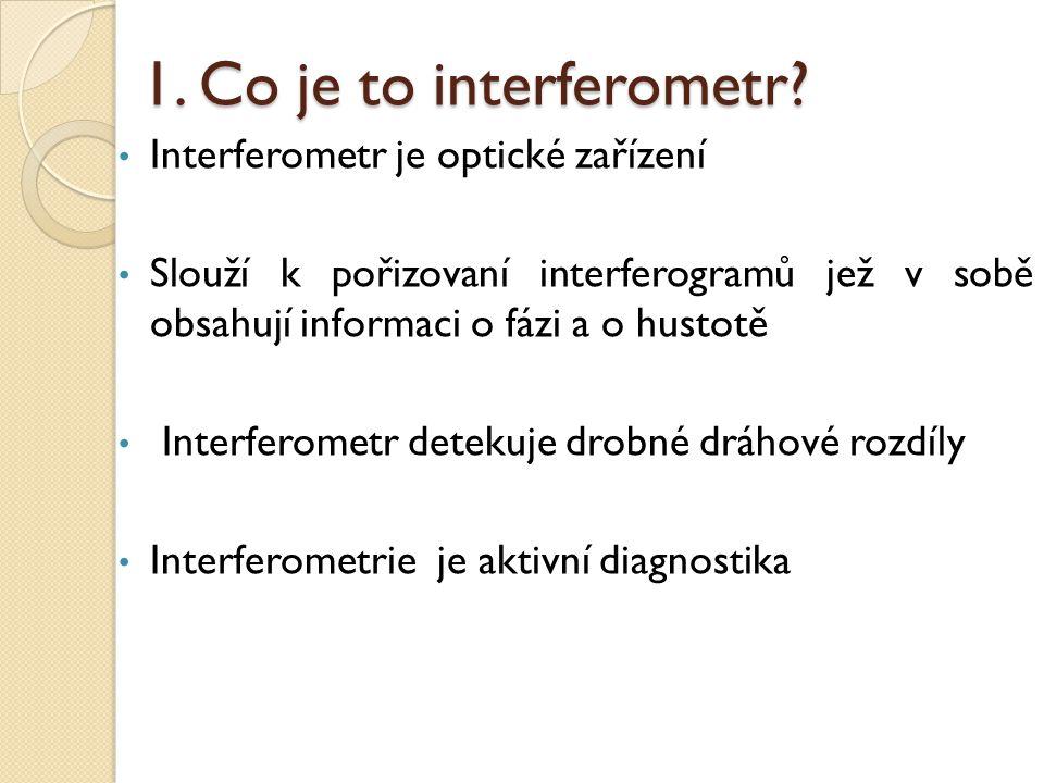 1. Co je to interferometr? Interferometr je optické zařízení Slouží k pořizovaní interferogramů jež v sobě obsahují informaci o fázi a o hustotě Inter