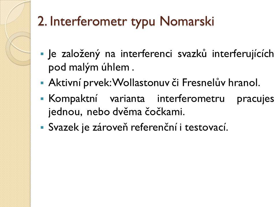 2. Interferometr typu Nomarski  Je založený na interferenci svazků interferujících pod malým úhlem.  Aktivní prvek: Wollastonuv či Fresnelův hranol.