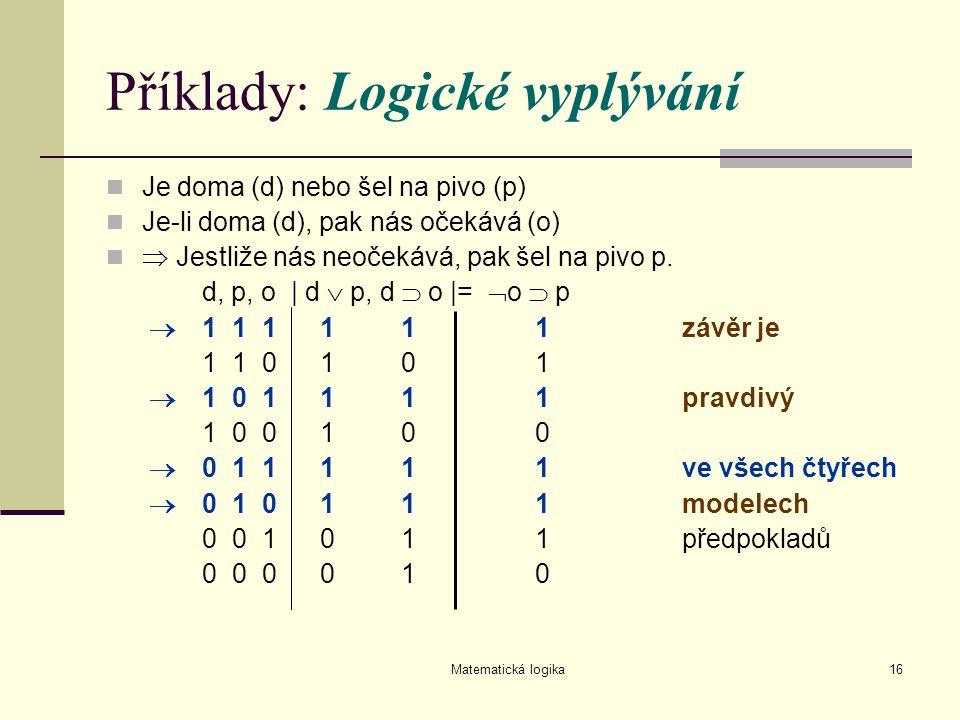 Matematická logika16 Příklady: Logické vyplývání Je doma (d) nebo šel na pivo (p) Je-li doma (d), pak nás očekává (o)  Jestliže nás neočekává, pak še
