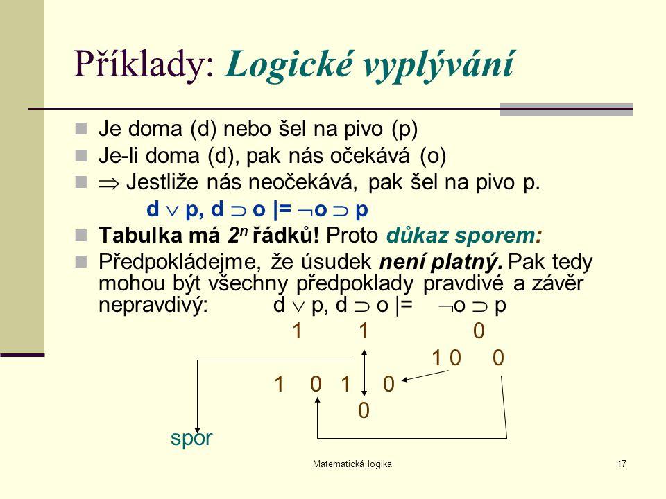 Matematická logika17 Příklady: Logické vyplývání Je doma (d) nebo šel na pivo (p) Je-li doma (d), pak nás očekává (o)  Jestliže nás neočekává, pak še