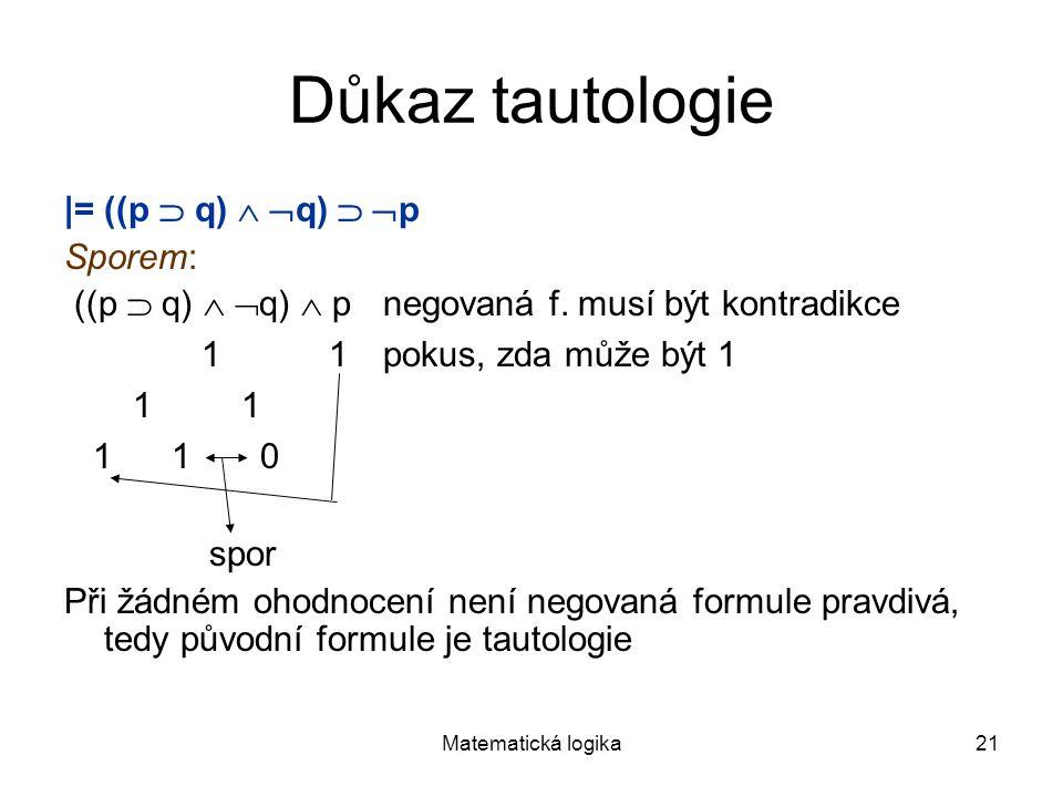 Matematická logika21 Důkaz tautologie |= ((p  q)   q)   p Sporem: ((p  q)   q)  p negovaná f. musí být kontradikce 1 1pokus, zda může být 1 1