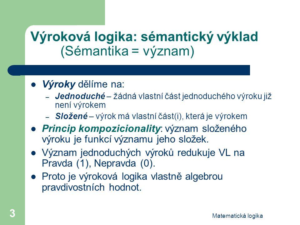 Matematická logika 3 Výroková logika: sémantický výklad (Sémantika = význam) Výroky dělíme na: – Jednoduché – žádná vlastní část jednoduchého výroku j
