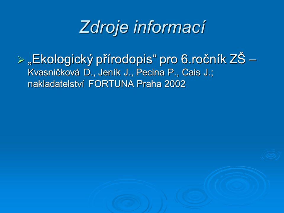 """Zdroje informací  """"Ekologický přírodopis"""" pro 6.ročník ZŠ – Kvasničková D., Jeník J., Pecina P., Cais J.; nakladatelství FORTUNA Praha 2002"""