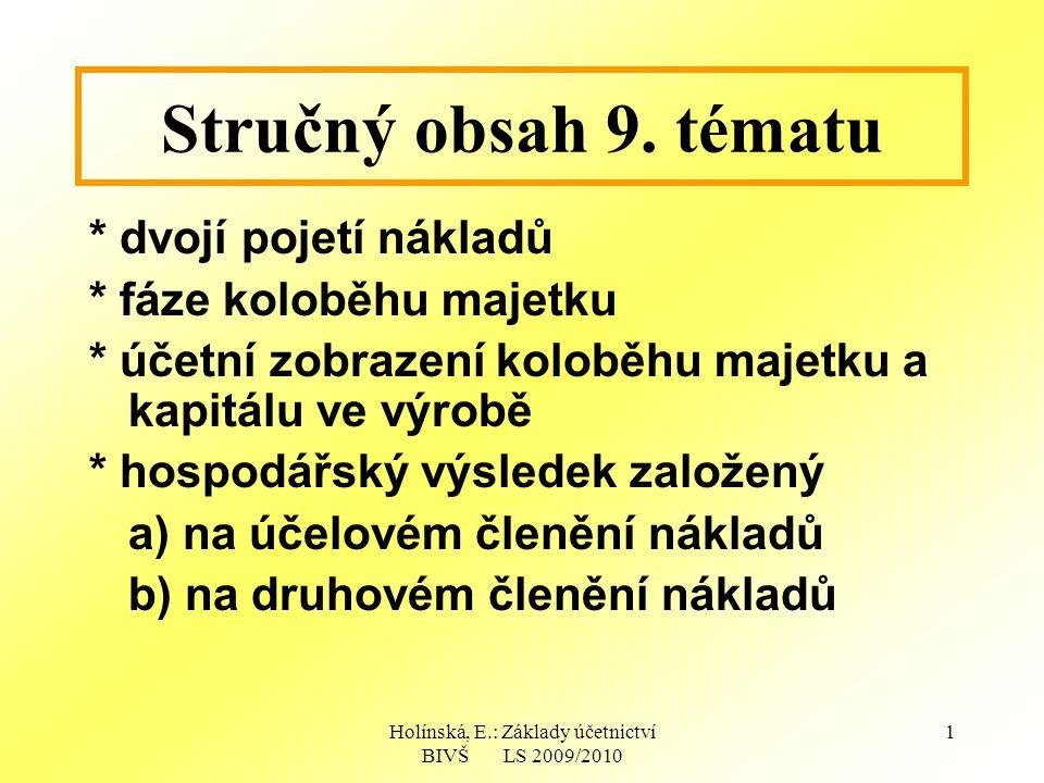 Holínská, E.: Základy účetnictví BIVŠ LS 2009/2010 1 Stručný obsah 9.