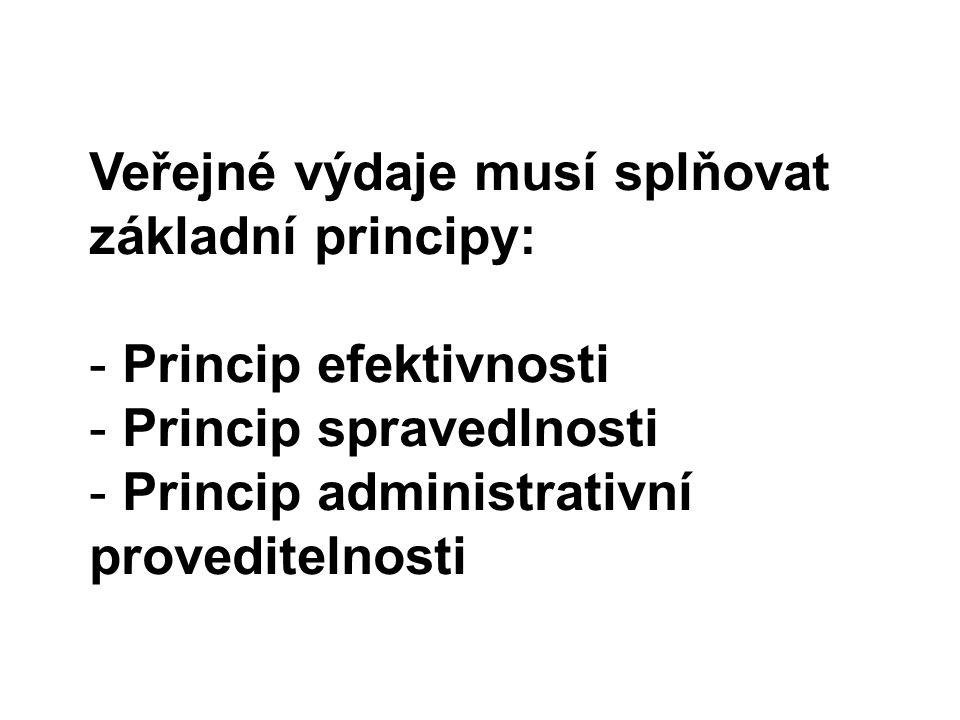 Veřejné výdaje musí splňovat základní principy: - Princip efektivnosti - Princip spravedlnosti - Princip administrativní proveditelnosti