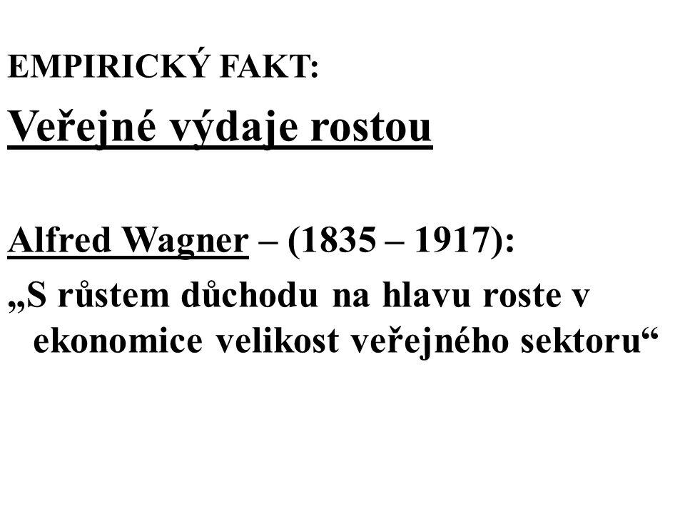 """EMPIRICKÝ FAKT: Veřejné výdaje rostou Alfred Wagner – (1835 – 1917): """"S růstem důchodu na hlavu roste v ekonomice velikost veřejného sektoru"""