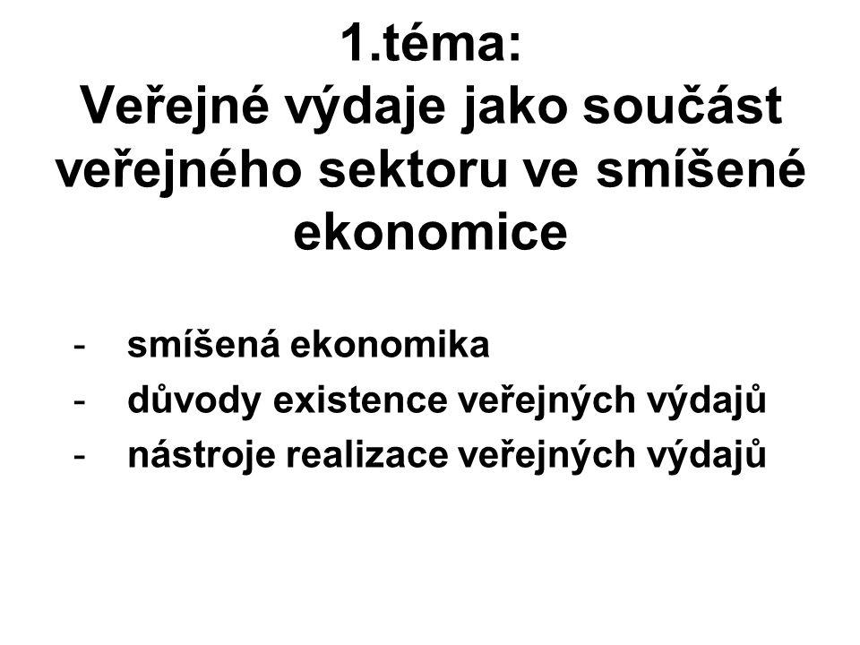 1.téma: Veřejné výdaje jako součást veřejného sektoru ve smíšené ekonomice -smíšená ekonomika -důvody existence veřejných výdajů -nástroje realizace veřejných výdajů