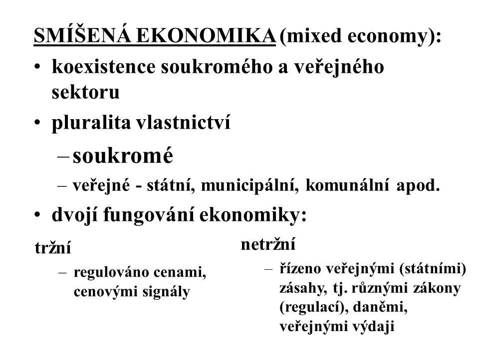 tržní –regulováno cenami, cenovými signály SMÍŠENÁ EKONOMIKA (mixed economy): koexistence soukromého a veřejného sektoru pluralita vlastnictví –soukromé –veřejné - státní, municipální, komunální apod.
