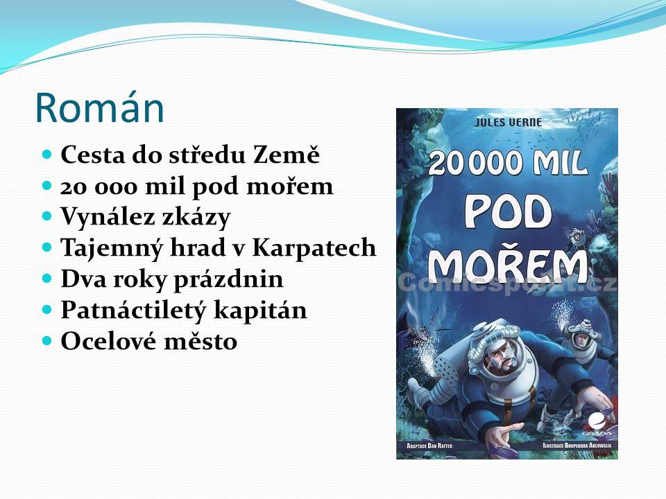 Román Cesta do středu Země 20 000 mil pod mořem Vynález zkázy Tajemný hrad v Karpatech Dva roky prázdnin Patnáctiletý kapitán Ocelové město