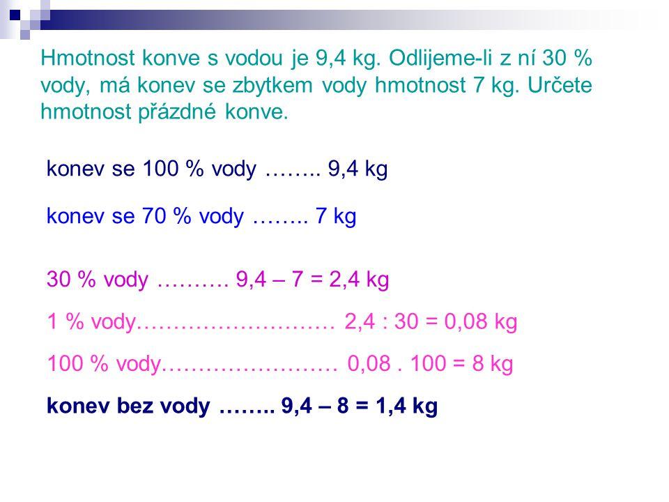 Hmotnost konve s vodou je 9,4 kg.