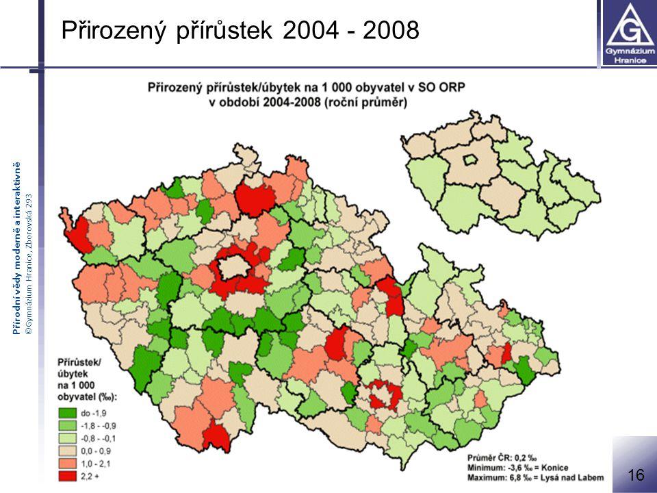 Přírodní vědy moderně a interaktivně ©Gymnázium Hranice, Zborovská 293 Přirozený přírůstek 2004 - 2008 16