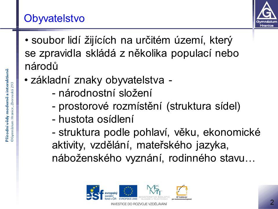 Přírodní vědy moderně a interaktivně ©Gymnázium Hranice, Zborovská 293 Obyvatelstvo soubor lidí žijících na určitém území, který se zpravidla skládá z
