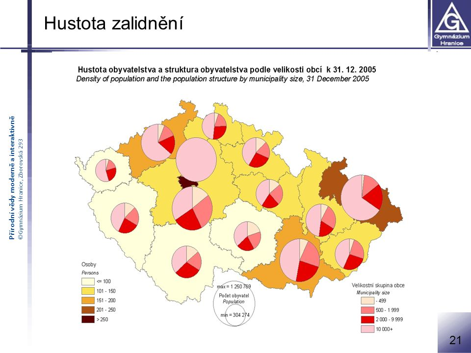 Přírodní vědy moderně a interaktivně ©Gymnázium Hranice, Zborovská 293 Hustota zalidnění 21