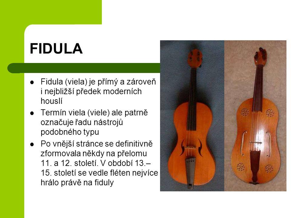 FIDULA Fidula (viela) je přímý a zároveň i nejbližší předek moderních houslí Termín viela (viele) ale patrně označuje řadu nástrojů podobného typu Po
