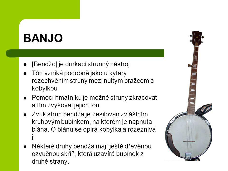 BANJO [Bendžo] je drnkací strunný nástroj Tón vzniká podobně jako u kytary rozechvěním struny mezi nultým pražcem a kobylkou Pomocí hmatníku je možné struny zkracovat a tím zvyšovat jejich tón.
