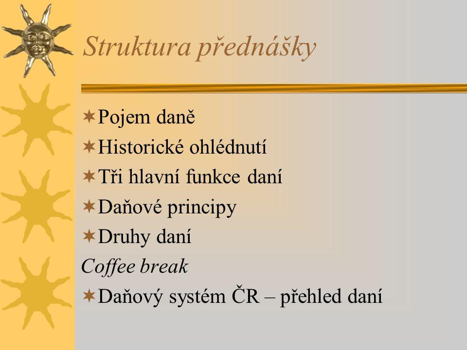 Struktura přednášky  Pojem daně  Historické ohlédnutí  Tři hlavní funkce daní  Daňové principy  Druhy daní Coffee break  Daňový systém ČR – přehled daní