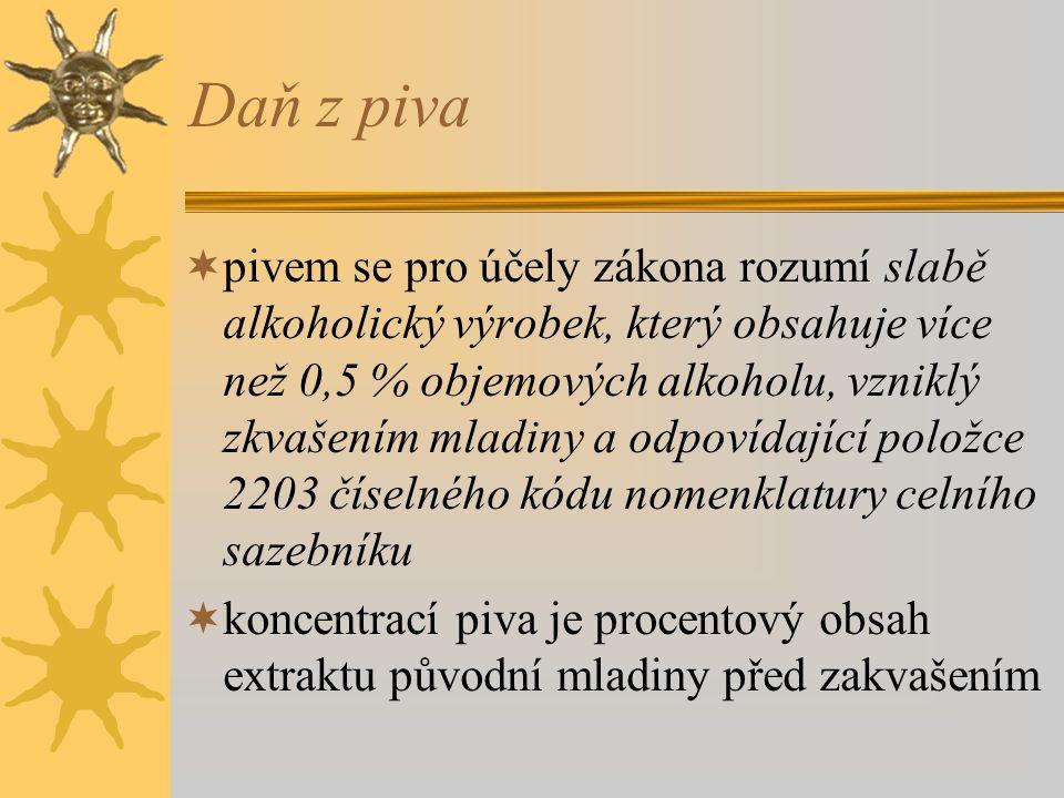 Daň z lihu  předmětem daně je líh (etylalkohol), s výjimkou lihu v pivě a ve víně  sazba 234 Kč za litr  u ovocných pálenek z pěstitelského pálení