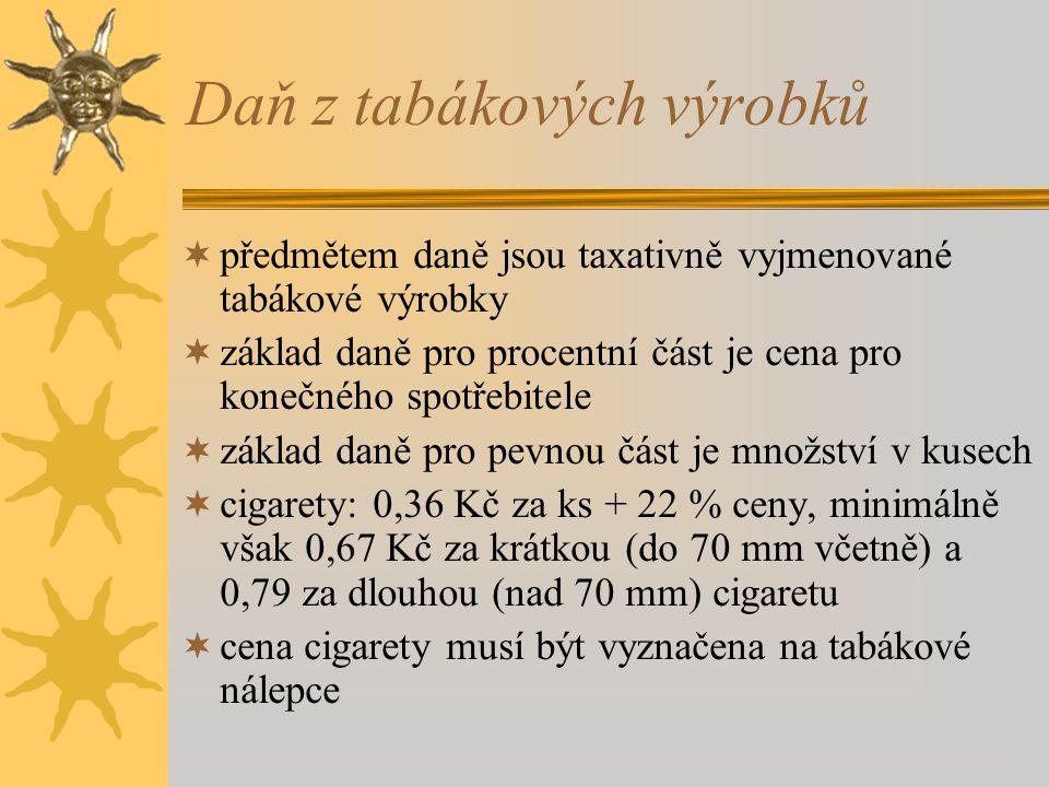 Daň z vína  předmětem daně jsou vína o obsahu min. 1,2 % a max. 22 % objemových alkoholu  révová vína 0 Kč, dosycovaná vína 16,40 Kč, šumivá vína 23