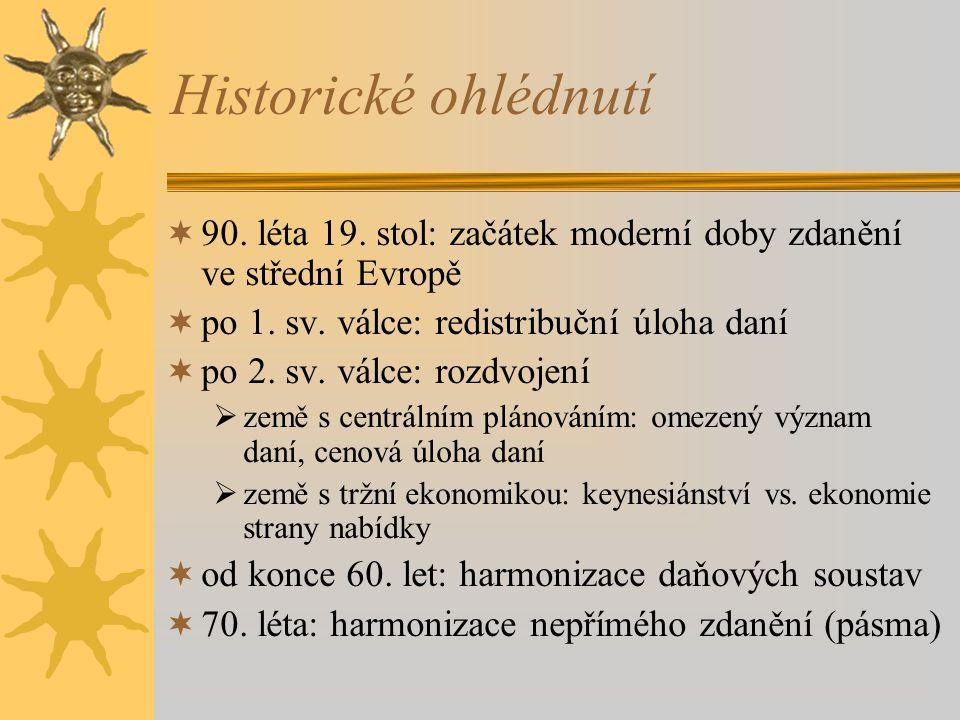 Historické ohlédnutí  90.léta 19. stol: začátek moderní doby zdanění ve střední Evropě  po 1.