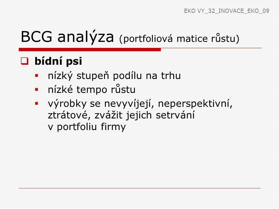 BCG analýza (portfoliová matice růstu)  bídní psi  nízký stupeň podílu na trhu  nízké tempo růstu  výrobky se nevyvíjejí, neperspektivní, ztrátové