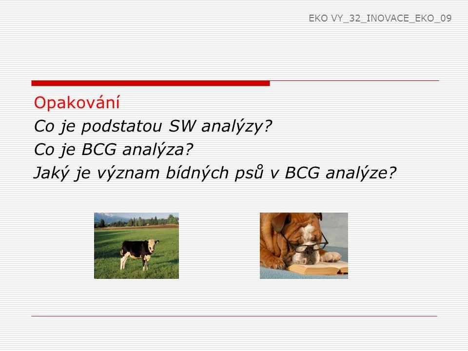 Opakování Co je podstatou SW analýzy? Co je BCG analýza? Jaký je význam bídných psů v BCG analýze? EKO VY_32_INOVACE_EKO_09