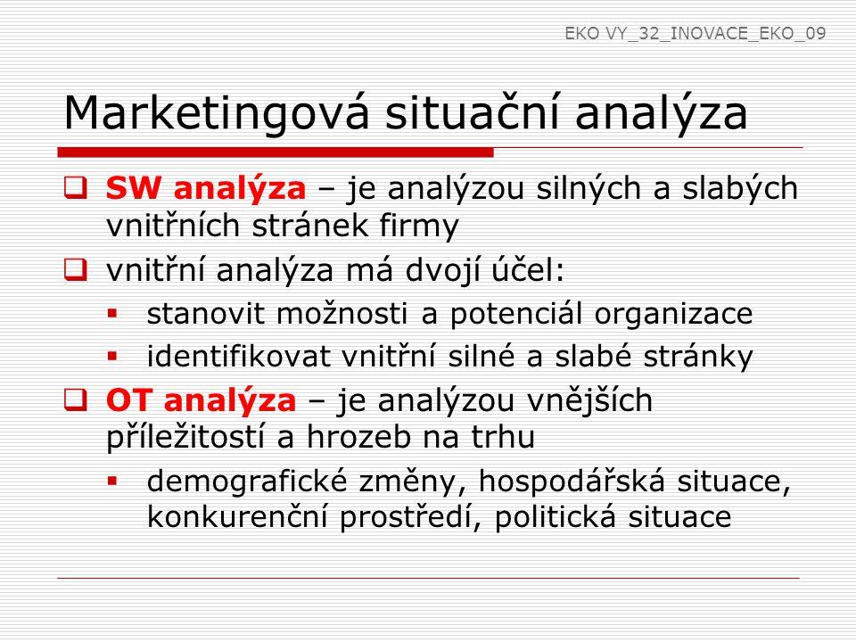 Marketingová situační analýza  SW analýza – je analýzou silných a slabých vnitřních stránek firmy  vnitřní analýza má dvojí účel:  stanovit možnost