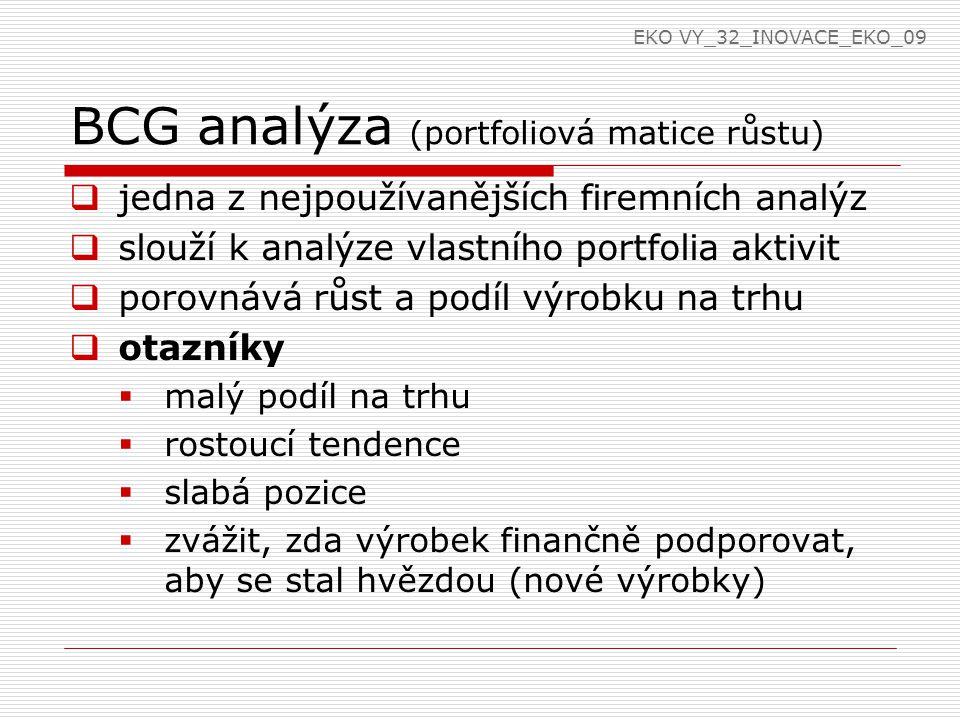 BCG analýza (portfoliová matice růstu)  hvězdy  výrobky s velkým podílem na trhu  zdroj budoucích zisků (firma musí vynaložit prostředky na podporu prodeje, reklamu)  dojné krávy  vysoký podíl na trhu  nízký stupeň růstu  jejich výroba a prodej zajišťují prostředky pro ostatní výrobky EKO VY_32_INOVACE_EKO_09