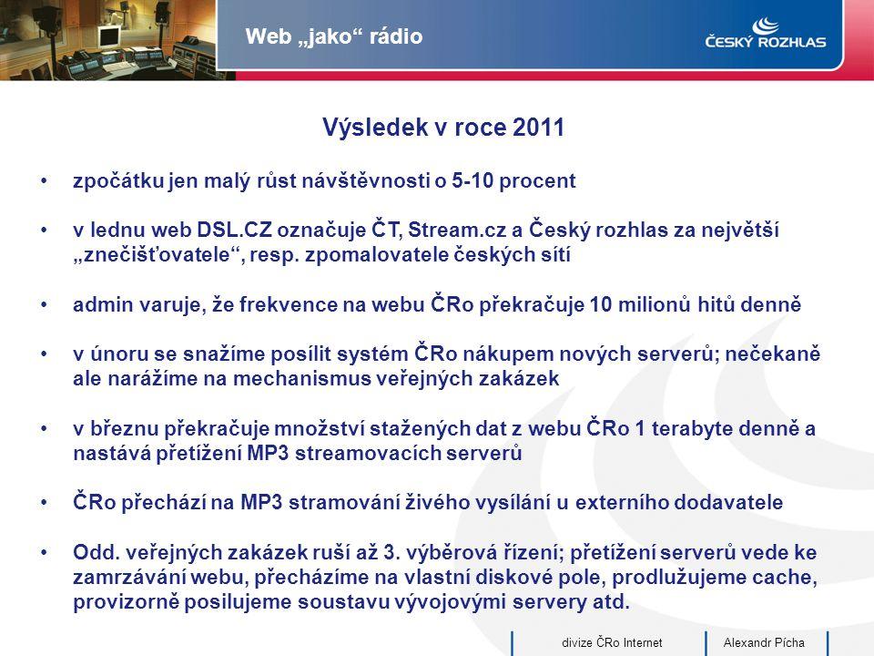 """Alexandr Píchadivize ČRo Internet Web """"jako rádio Výsledek v roce 2011 zpočátku jen malý růst návštěvnosti o 5-10 procent v lednu web DSL.CZ označuje ČT, Stream.cz a Český rozhlas za největší """"znečišťovatele , resp."""