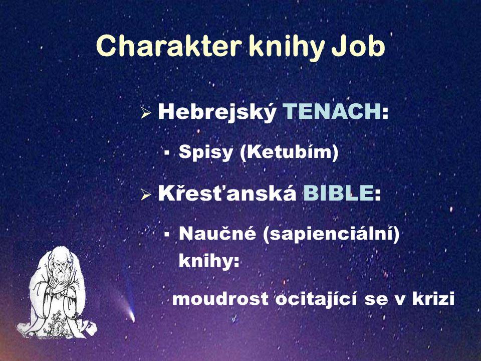 Charakter knihy Job  Hebrejský TENACH:  Spisy (Ketubím)  Křesťanská BIBLE:  Naučné (sapienciální) knihy: moudrost ocitající se v krizi