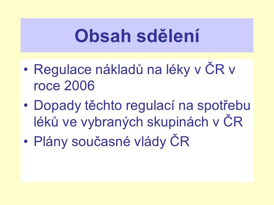 Obsah sdělení Regulace nákladů na léky v ČR v roce 2006 Dopady těchto regulací na spotřebu léků ve vybraných skupinách v ČR Plány současné vlády ČR