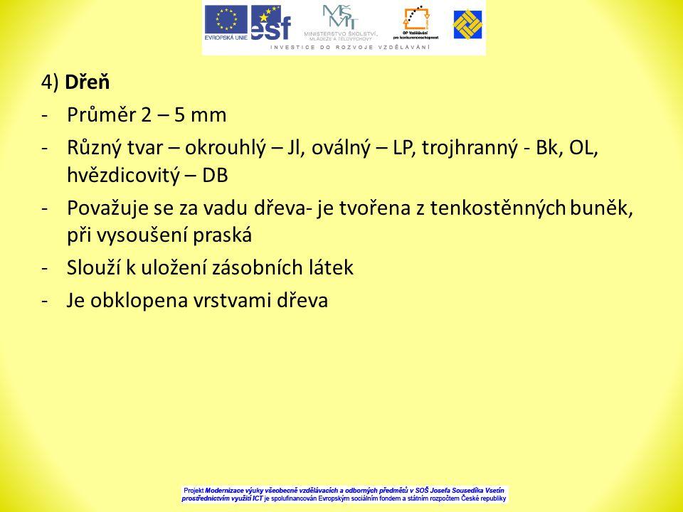 4) Dřeň -Průměr 2 – 5 mm -Různý tvar – okrouhlý – Jl, oválný – LP, trojhranný - Bk, OL, hvězdicovitý – DB -Považuje se za vadu dřeva- je tvořena z tenkostěnných buněk, při vysoušení praská -Slouží k uložení zásobních látek -Je obklopena vrstvami dřeva