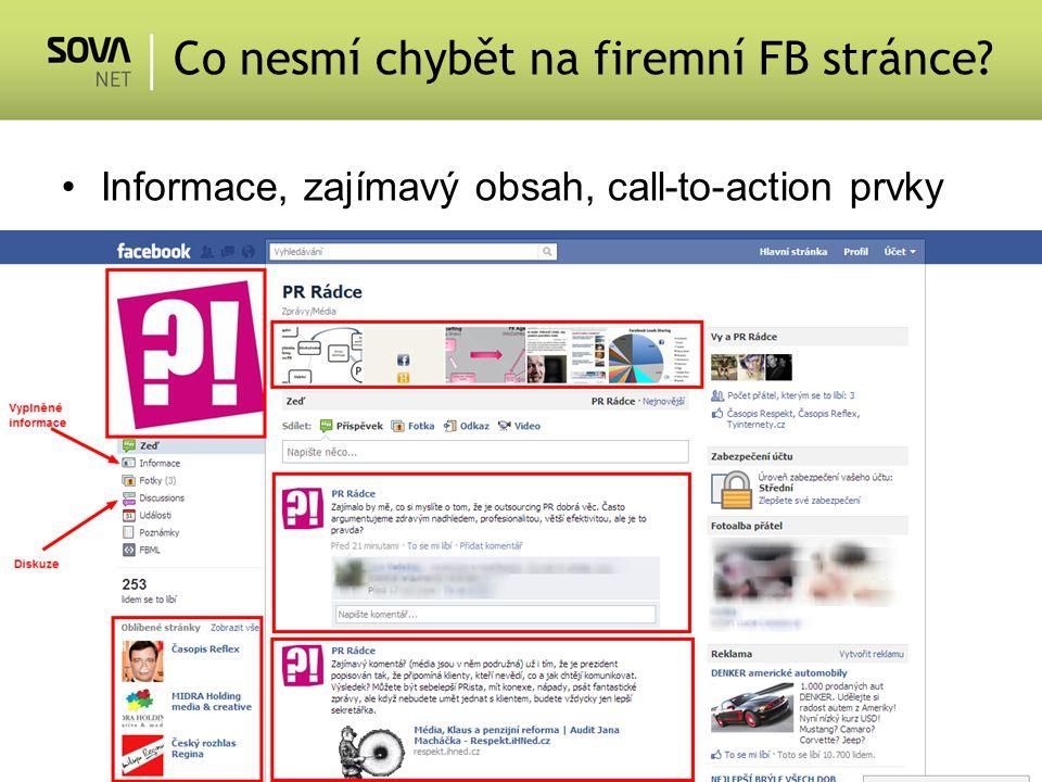 Informace, zajímavý obsah, call-to-action prvky Co nesmí chybět na firemní FB stránce