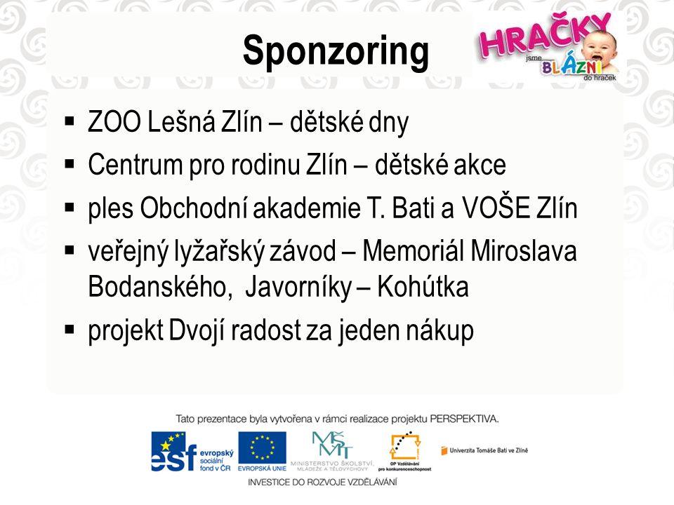 Sponzoring  ZOO Lešná Zlín – dětské dny  Centrum pro rodinu Zlín – dětské akce  ples Obchodní akademie T. Bati a VOŠE Zlín  veřejný lyžařský závod