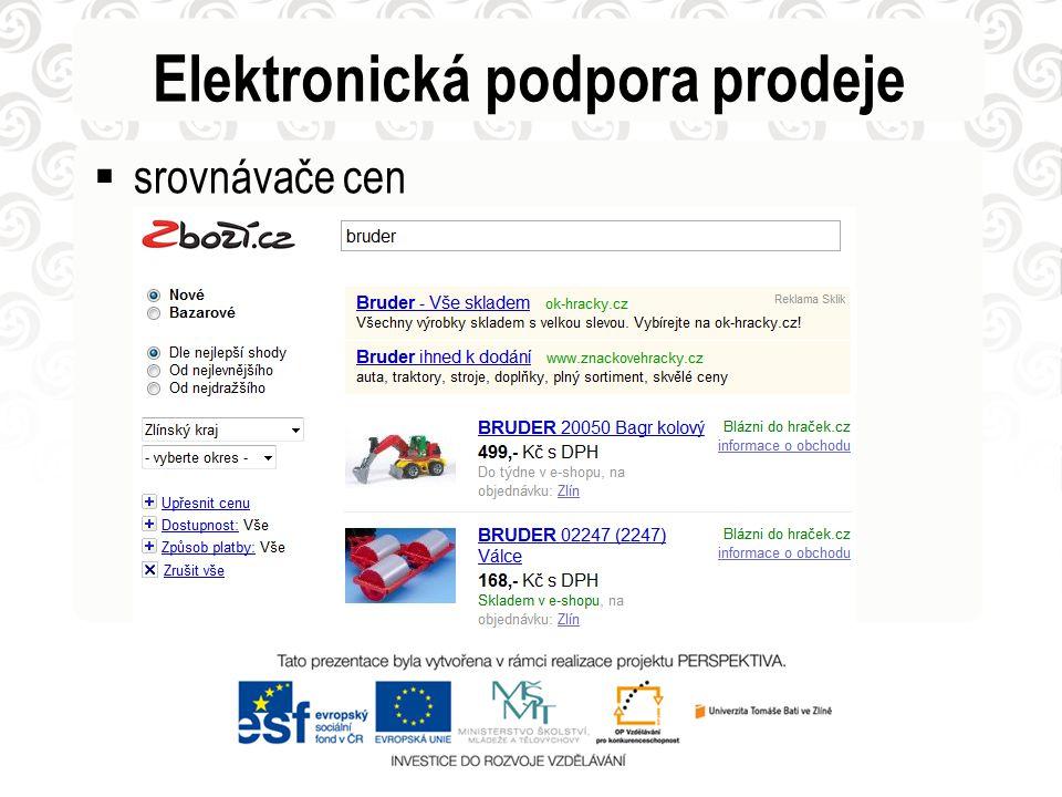 Elektronická podpora prodeje  srovnávače cen