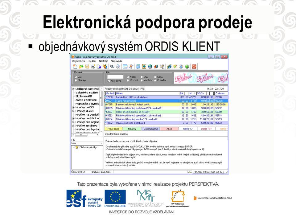 Elektronická podpora prodeje  objednávkový systém ORDIS KLIENT
