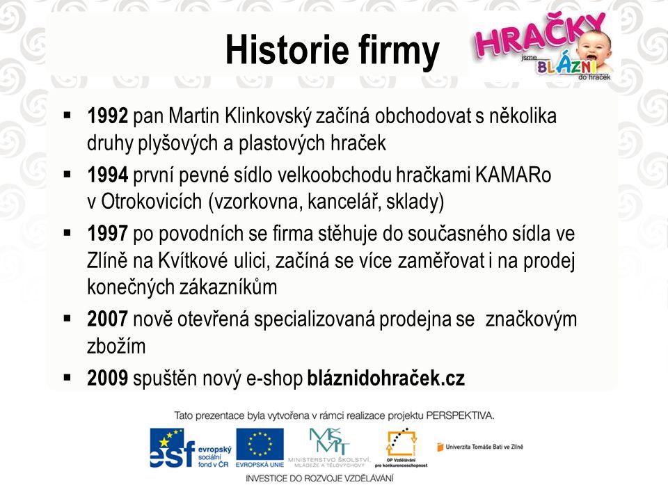 Historie firmy  1992 pan Martin Klinkovský začíná obchodovat s několika druhy plyšových a plastových hraček  1994 první pevné sídlo velkoobchodu hra