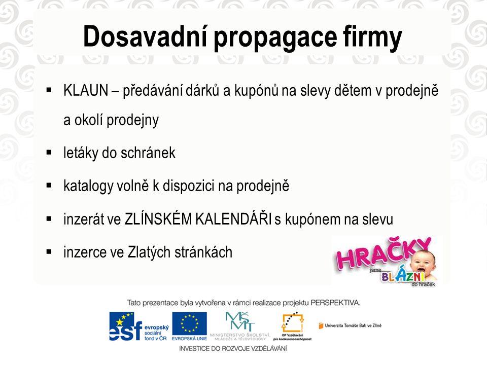 Dosavadní propagace firmy  reklamní plochy na parkovišti OC Čepkov na ulici Dlouhá na náměstí Práce
