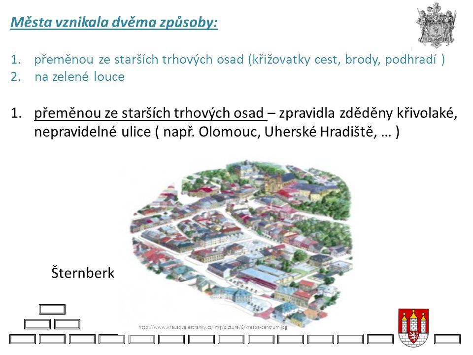 Města vznikala dvěma způsoby: 1.přeměnou ze starších trhových osad (křižovatky cest, brody, podhradí ) 2. na zelené louce 1.přeměnou ze starších trhov